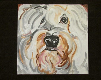 24x24 Custom Pet Portrait Painting by Justin Patten Dog Cat Animal Original Gift