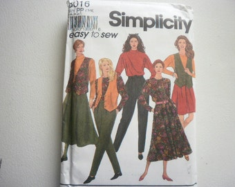 Pattern Ladies Skirt Pants Top Vest Sizes 12-18 Vintage Simplicity 8016
