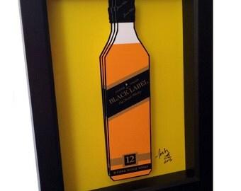 Johnnie Walker Black Label 3D Pop Art Scotch Bottle Liquor Bar Print