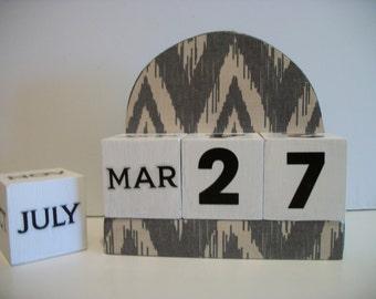 Grey Ikat Calendar Perpetual Block Calendar Wood Grey/Gray Chevron Ikat Pattern