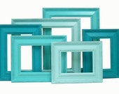Shabby Chic Picture Frame Picture Frame Set Shabby Chic Picture Frames Home Decor Beach Wedding Decor Ombre Turquoise Rustic Frames
