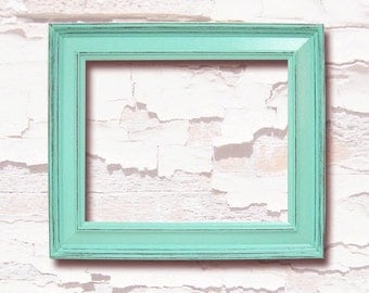 picture frames shabby chic decor 8x10 picture frame mint green or custom wood distressed picture frame