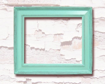Picture Frames Shabby Chic Decor 8x10 Picture Frame Mint Green or Custom Wood Distressed Picture Frame Home Decor Wedding Beach Nursery