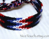 SUMMER SALE!!! Free Shipping or Save 20% ~ Captain America Patriotic Flames knotted friendship bracelet ~ Ready to Ship