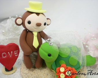 Custom wedding Cake Topper-- Love monkey and sea turtle with clay sand base--New