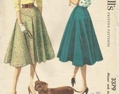 1950s Circle Skirt Flared Circular Yoked Skirt Front Inverted Pleat Rockabilly Skirt Vintage Sewing Pattern McCall's 3379 Waist 30 Uncut FF