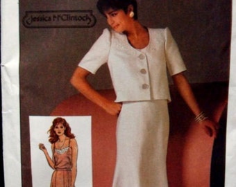 1980s Jessica McClintock Camisole Flared Skirt U Neck Cropped Jacket Simplicity 6783 Uncut FF Size 12 Bust 34 Women's Vintage Sewing Pattern