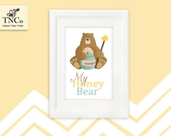 Bear Clipart Bear Printable Honey Bear Nursery Print