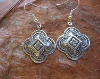 Silver Boho earrings, Native earrings, Ethnic earrings, African Earrings