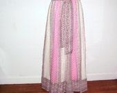 vintage maxi skirt filet lace inset pink floral Chessa Davis shirt gypsy boho skirt summer beach