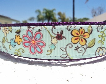 """Sale Dog Collar Flower Blue 1"""" wide Quick Release adjustable - Martingale style is cost upgrade"""