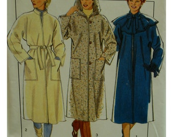 80s Hooded Coat Pattern, Unlined, Cut-on Sleeves, Stand-up Collar, Button Front, Pockets, Capelet, Style No. 3776 UNCUT Size Medium (14-16)