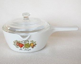 Vintage Corning Ware Menuette With Pour Spout P-89-B Spice of Life Lipped Covered Saucepan 750ml Spice O Life Menuette P-89-B