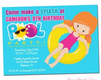 PRINTABLE Girl Pool Party Invitations (Character of your choice) #5001