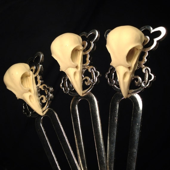 Replica Crow Skull Silver Plated Hair Fork, Bookmark or Letter Opener