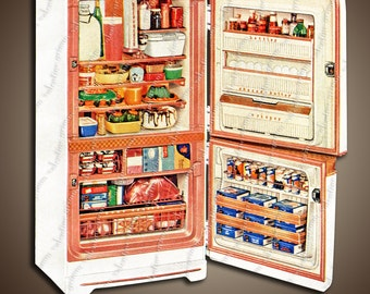 5x10 Digital 1950s Refrigerator - Retro Kitsch in PNG & JPG for Instant Download