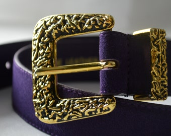 Purple Suede Belt with Large Gold Buckle Vintage 1980s Fits Waists 31 - 35 inches
