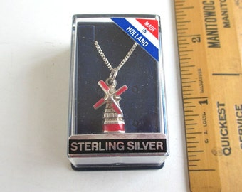 """3D Sterling Silver Windmill Pendant Necklace in Box - Vintage Holland, 16"""""""