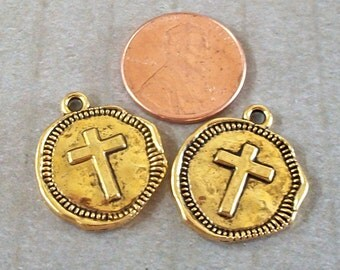 Gold Pewter Cross Coin Charms