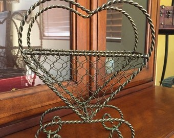 Vintage Metal Heart Basket