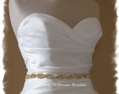 Gold Bridal Sash, Gold Rhinestone Bridal Belt, 18 Inch Jeweled Gold Wedding Dress Sash, Rhinestone Crystal Gold Wedding Sash, No. 5050GS-18