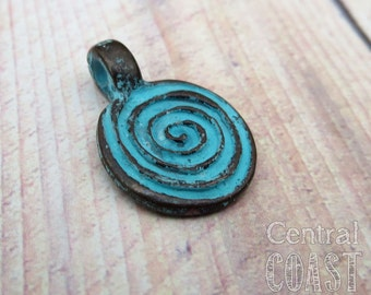 Spiral Swirl Disc Two Sided Pendant Charm - 18mm - (2) Verdigris Green Patina Greek Copper Casting - Bohemian Rustic - Central Coast Charms