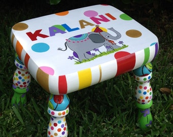 Personalized Kid's Stool Kid's Footstool  Stool for Kids  Birthday Stool Elephant Stool Polka Dots Stool Children's Stool Stool for Children