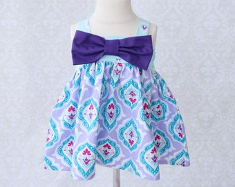 Rachel Swing Top - Blue Floral with Purple Bow Detail  4T
