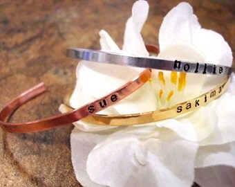 Cuff Bracelets, Personalized Jewelry, Hand Stamped Jewelry, Mixed Metal Cuff Bracelets, Grandma Bracelet