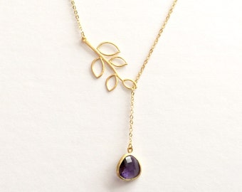 Amethyst Branch Lariat Necklace in Gold- February Birthstone, customizable, botanical, available in sliver and other birthstone colors.