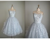 50's Emma Domb Dress // Vintage 1950's Strapless Baby Blue Silver Metalllic Lace Tulle Prom Wedding Party Dress XS