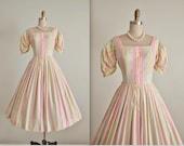 50's Striped Dress // Vintage 1950's Striped Pastel Cotton Full Summer Dress XS