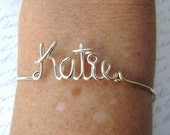 Custom Wire Name Bracelet Personalized Jewelry Any Word Name Custom Made Bracelet Silver Gold Bridesmaid Friendship Jewelry Gifts Under 20