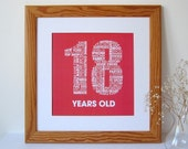 Personalized 18th Birthday Print - Personalised Birthday Print - Birthday Print for Her - Birthday Print for Him