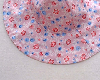 Toddler Beach Hat, Baby Sun Hat, Baby Floppy Hat, Floppy Hat, travel hat,Sun Hat Baby,Sun Hat, Pink   - Ready to Ship