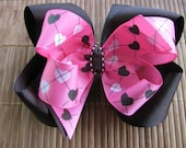 2646 pink and brown double boutique bow