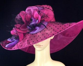 Womens Kentucky Derby Hat,Pink and Black,Derby Hat,Dress Hat , Wedding Hat Wide Brim Hat Tea Party Hat Ascot