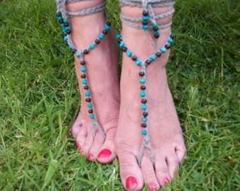 Beaded Barefoot sandals. Crochet, Beach Yoga Festival Pool, Tribal anklet,Turquoise Black