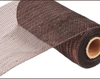 10 Inch Chocolate Chocolate Foil Deco Mesh Roll RE1301N8, Deco Mesh Supplies