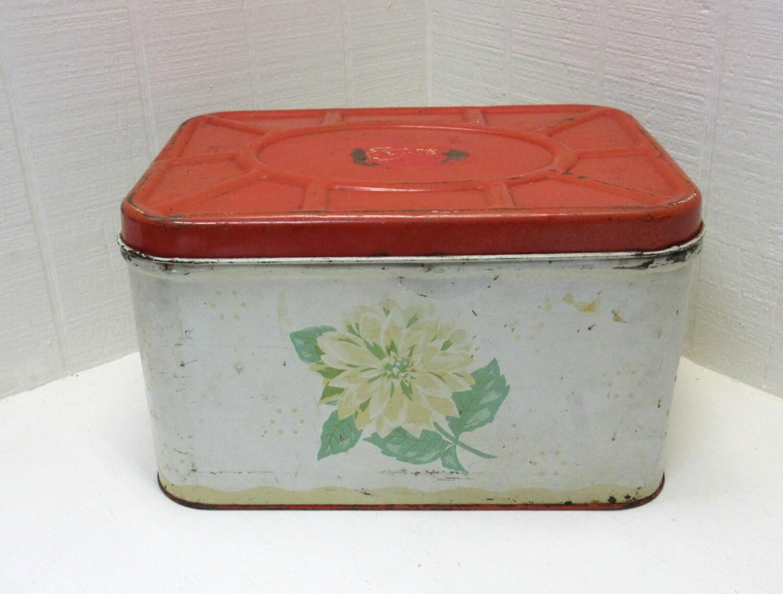 Vintage Metal Bread Box Red Bread Box
