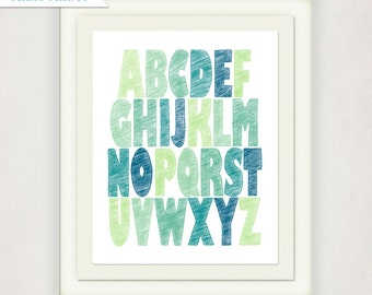 ABC Print Art // Boy's Custom Alphabet // Baby's Print with custom colors // Kid's Nursery Wall Art // blue green // small to large print