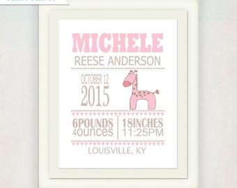 Pink and Tan Giraffe Birth Announcement Canvas // Personalized Girl's Birth Announcement Canvas //  Kid's Nursery Wall Art // Baby Gift