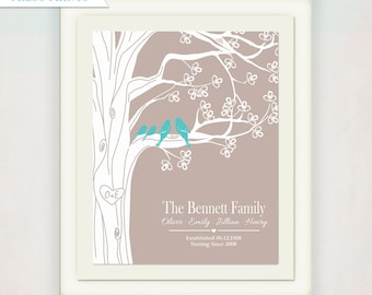 Personalized Family Tree with Initials and Anniversary Date // Family and Children's Names // Wedding Sign //  Love Bird // New Family Print