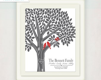 Tree Print with Birds in Gray and Red // Home Decor Print // Tree Canvas with Initials // Custom Housewarming Gift // Wedding Sign