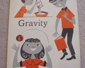 """Vintage Illustrated Large Flash Card Science Chart Poster -- 11"""" x 14"""" Gravity"""