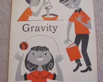 "Vintage Illustrated Large Flash Card Science Chart Poster -- 11"" x 14"" Gravity"