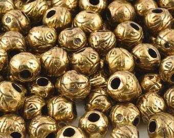 Casting-9x11mm Etched Bead-Antique Bronze-Quantity 5