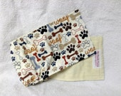 Male Dog Belly Band Pet  Diaper Wrap  Beige Woof Fabric Custom Sizes To 30 Inches