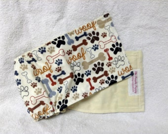 Male Dog Belly Band Pet  Diaper Wrap  doggie Pants Beige Woof Fabric Custom Sizes To 30 Inches