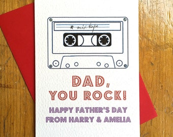 Personalised Dad You Rock! Father's Day Card FREE UK P&P